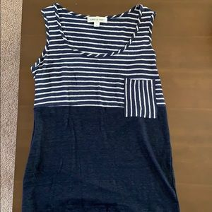 Amour Vert navy and white striped tank top, M